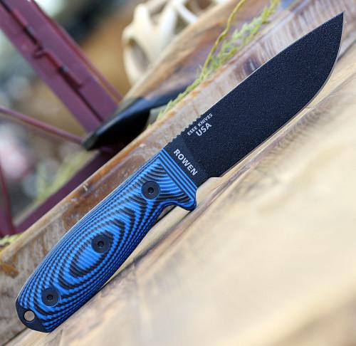"ESEE-4 4PB-008, 4.5"" 1095 Carbon Steel Black Plain Blade, Blue/Black G10 3D Handle, Black Sheath"