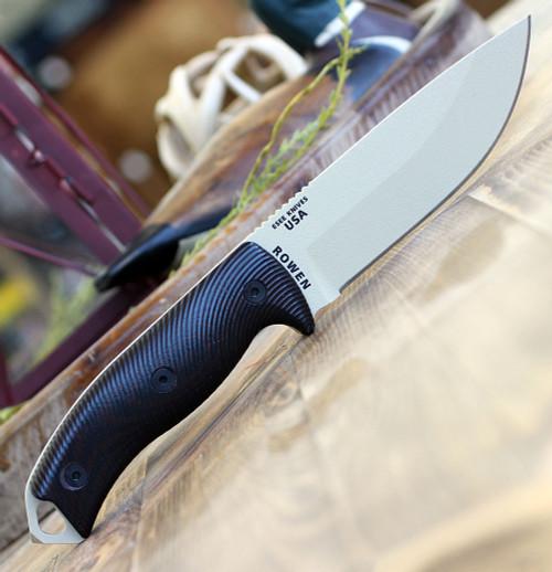 """ESEE-5 5PDT-004, 5.25"""" 1095 Carbon Steel DT Plain Blade, Blood/Black G10 3D Handle, Black Kydex Sheath"""