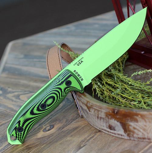 "ESEE-5 5PVG-007, 5.25"" 1095 Carbon Steel Venom Green Plain Blade, Neon Green/Black G10 3D Handle, Black Kydex Sheath"