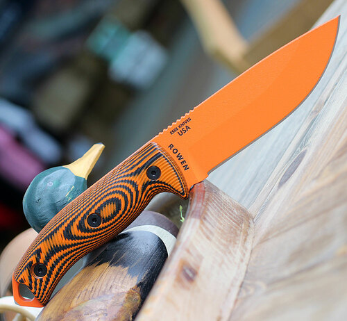 "ESEE-5 5POR-006, 5.25"" 1095 Carbon Steel Orange Plain Blade, Orange/Black G10 3D Handle, Black Kydex Sheath"