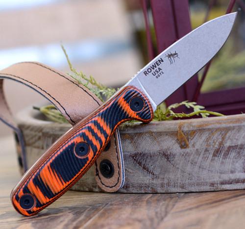 "ESEE Xancudo XAN2-006, 3.0"" S35VN Stonewash Plain Blade, Orange/Black G10 3D Handle (no Hole), Black Sheath"