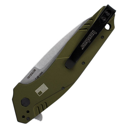 """Kershaw Dividend A/O with Flipper KS1812OLCB, 3"""" CPM Composite Blade, Olive Aluminum Handle"""