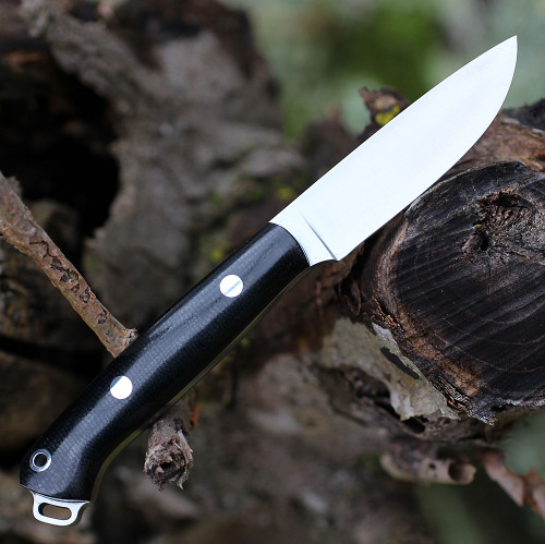 "Bark River Knives Little Creek BA01061MBC,2.5"" CPM CruWear Blade, Black Canvas Micarta Handle"