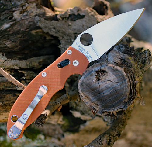 "Spyderco Manix 2 REX45 Sprint Run C101GPBORE2, 3.37"" CPM REX 45 Satin Plain Blade, Burnt Orange G-10 Handle"