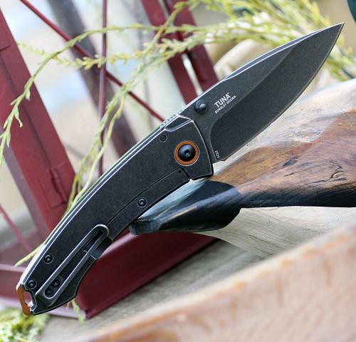 """CRKT Tuna CR2520, 3.221"""" 8Cr14MoV Black Stonewash Blade, G-10/2Cr13 SS Handle"""