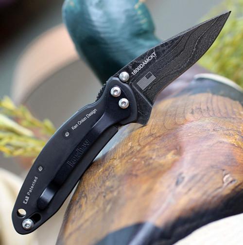 "Kershaw Chive Framelock A/O Dam KS1600DAMBK,  1.9"" Damascus Plain Blade, Black 2Cr13 Stainless Handle"