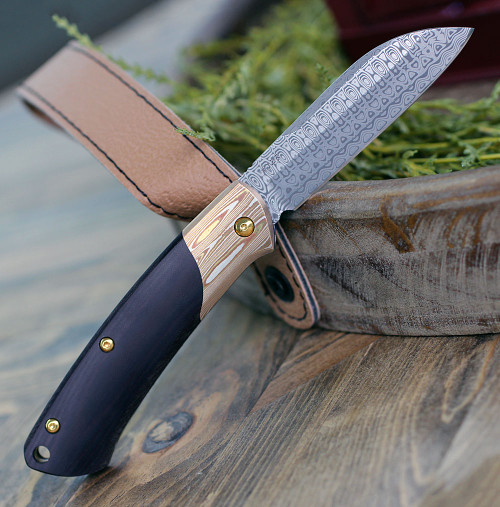 "Benchmade 319-201 Proper Gold Class, 2.82"" Damasteel, Mokume Bolster, Burgundy/Black Linen Micarta Handle-Coming Soon!"