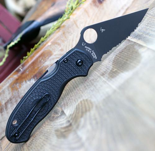 "Spyderco Para 3 Lightweight C223SBBK, 2.92"" CTS BD1N Black Serrated Blade, Black FRN Handle"
