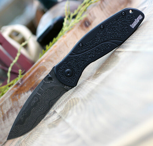 "Kershaw  Blur A/O Damascus 1670BLKDAM, 3.4"" Damascus Blade, Black Aluminum Handle"