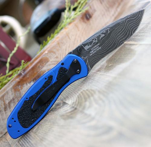 "Kershaw  Blur A/O Damacus 1670NBDAM, 3.4"" Damascus Blade, Blue  Aluminum Handle"