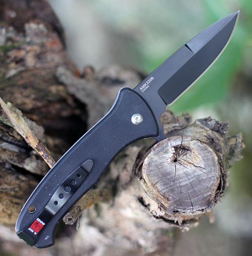 "Al Mar S.E.R.E. 2020 Night Linerlock A/O 2206, 3.6"" D2 Matte Black Titanium Plain Blade, G-10 Handle"