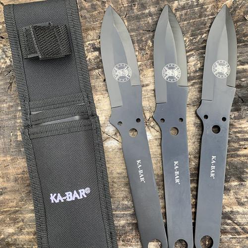 "Ka-Bar Throwing Knife Set KA1121, 4"" 3Cr13 Plain Blades, 3Cr13 Handle"