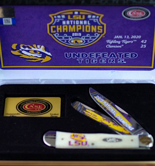 Case LSU19-CATSB Trapper Gift Set, LSU Smooth Natural Bone Handle (6254 SS)