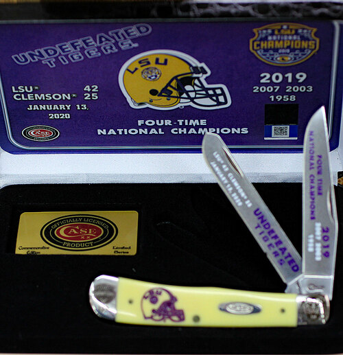 Case LSU19-CATY Trapper Gift Set, LSU Yellow Synthetic Handle (3254 SS)