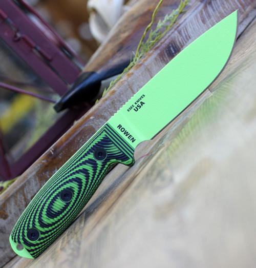 "ESEE-4 4PVG-007 4.5"" 1095 Carbon Steel Venom Green Plain Blade, Green/Black G10 3D Handle, Black Sheath"