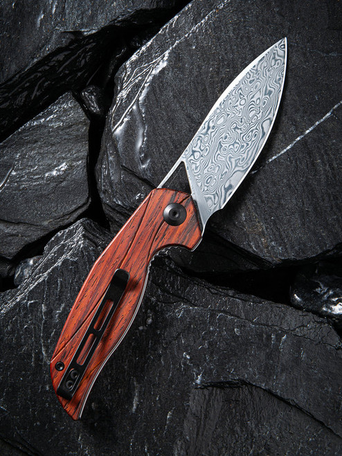 "Civivi Anthropos Linerlock Folder C903DS2, 3.25"" Damascus Drop Point Plain Blade, Cocobolo Wood Handle"