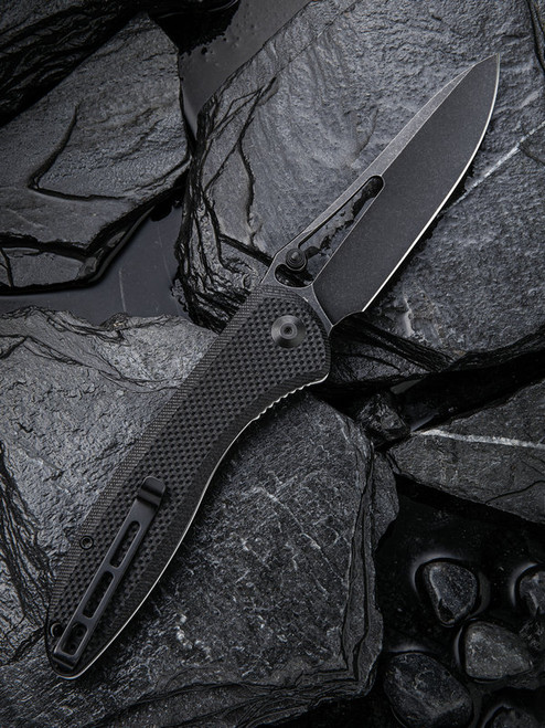 "Civivi Picaro Linerlock Folder C916D, 3.94"" D2 Black Stonewash Drop Point Plain Blade, Black G-10 Handle"