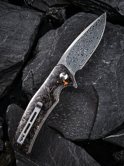 "Civivi Incite Linerlock Folder C908DS2,  3.7"" Damascus Drop Point Plain Blade, Shredded Carbon Fiber And Copper Shred In Clear Resin Handle"