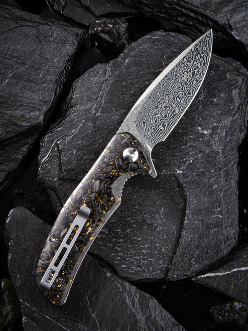 "Civivi Incite Linerlock Folder C908DS1, 3.7"" Damascus Drop Point Plain Blade, Shredded Carbon Fiber And Golden Shred In Clear Resin Handle"