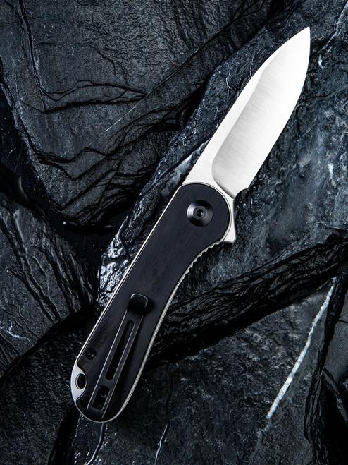 "Civivi Elementum Linerlock Folder C907D, 2.96"" D2 Satin Plain Blade, Ebony Wood Handle"