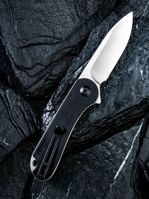 "CIVIVI Elementum C907D, 2.96"" D2 Satin Drop Point Blade, Black Ebony Wood Handles"