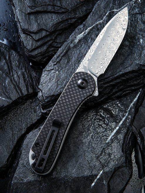 "Civivi Elementum Linerlock Folder C907DS, 2.96"" Damascus Plain Blade, Black G10 Handle with Carbon Fiber Overlay Handle"