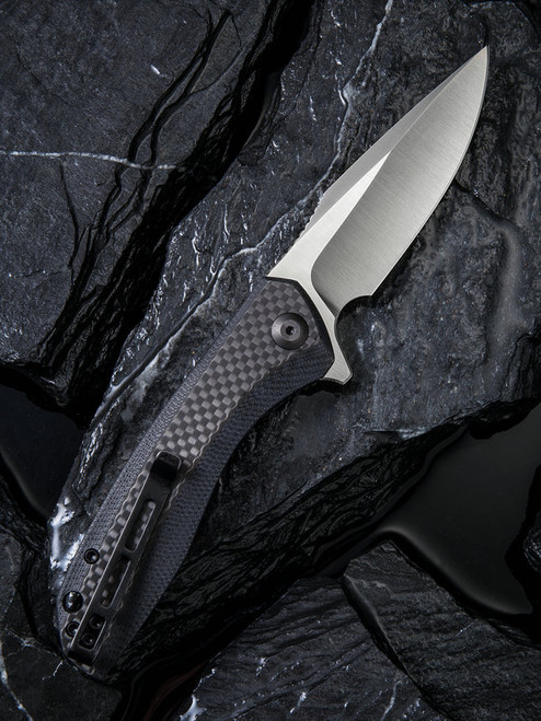"Civivi Baklash Linerlock Folder C801D, 3.5"" 9Cr18MoV Drop Point Plain Blade, G10 with Carbon Fiber Overlay Handle"