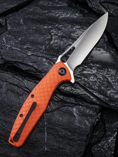 "Civivi Wyvern Linerlock Folder C902D, 3.45"" D2 Drop Point Plain Blade, Orange Fiber-glass Reinforced Nylon Handle"