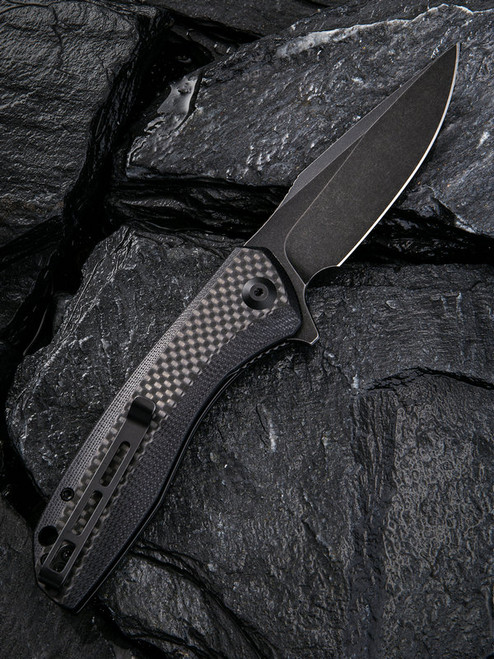 "Civivi Baklash Linerlock Folder C801I, 3.5"" 9Cr18MoV Drop Point Black Stonewash Plain Blade,  Black G10 With Carbon Fiber Overlay Handle"