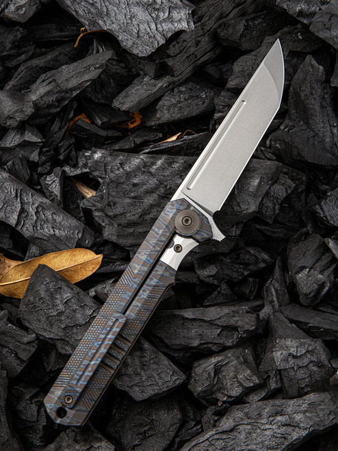 "We Knife Syncro Framelock Folder 909D, 3.85"" CPM S35VN Stonewash Standard Plain Blade, Flamed Titanium Handle"