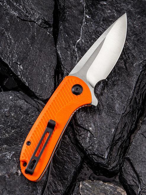"Civivi Durus Linerlock Folder C906C, 3"" D2 Drop Point Plain Blade, Orange G-10 Handle"