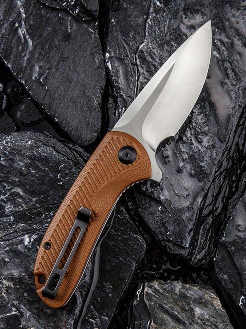 "Civivi Durus Linerlock Folder C906B, 3"" D2 Drop Point Plain Blade, Brown G-10 Handle"