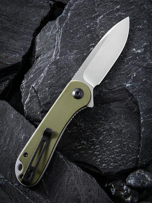 "Civivi Elementum Linerlock Folder C907E, 2.96"" D2 Satin Plain Blade, Green G10 Handle"
