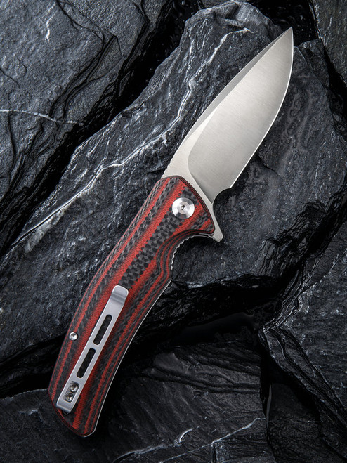 "Civivi Incite Linerlock Folder C908C, 3.7"" D2 Satin Plain Blade,Red and Black Layered G10 and Carbon Fiber Handle"