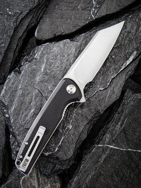 "Civivi Brigand Linerlock Folder C909C, 3.46"" D2 Satin Wharncliffe Plain Blade, Coarse Black G10 Handle"