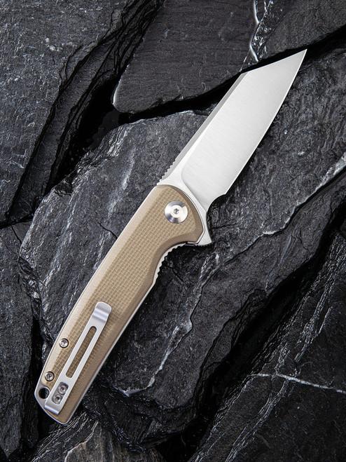 "Civivi Brigard Linerlock Folder C909B, 3.46"" D2 Satin Wharncliffe Plain Blade, Coarse Tan G10 Handle"