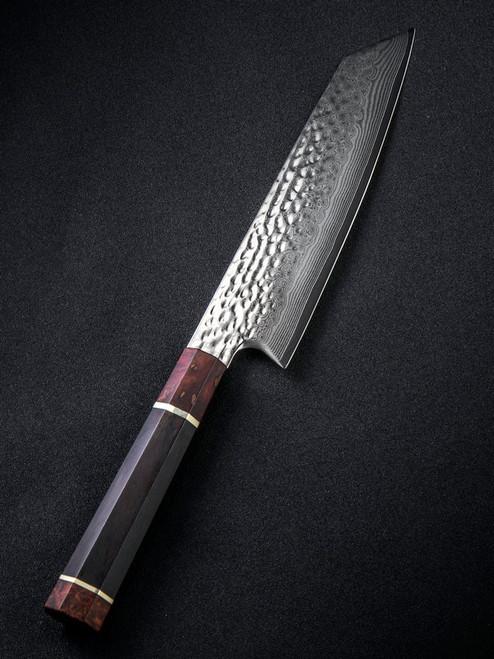 "We Knife Gyuto WK01B, 9.25"" Damascus Wharncliffe Plain Blade, Black and Bronze Wood Handle"