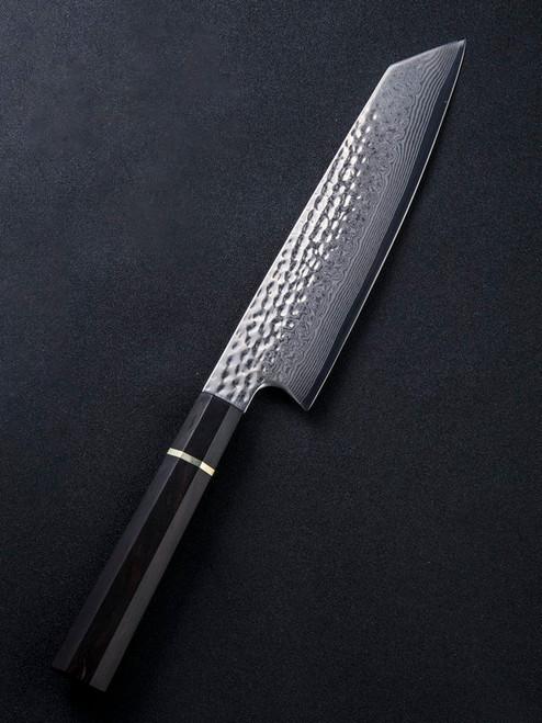 "We Knife Gyuto WK01A, 9.25"" Damascus Wharncliffe Plain Blade, Black  Wood Handle"