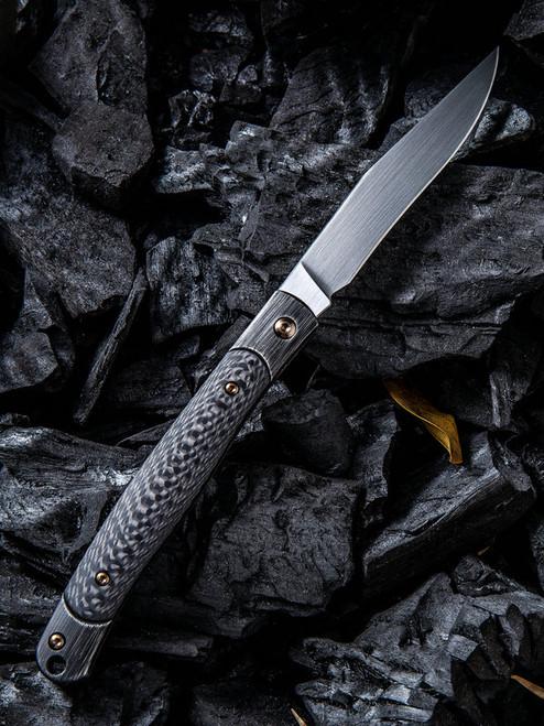 "We Knife Gentry Slip Joint Folder 902A, 3.45"" CPM-S35VN Satin Clip Point Plain Blade, Black Carbon Fiber Handle"