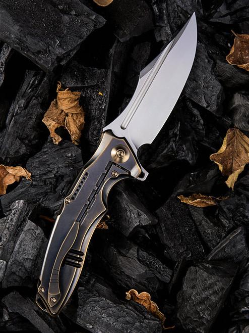 "We Knife Chimera Framelock Folder 814A, 3.9"" CPM S35VN Satin Clip Point Plain Blade, Black and Bronze Titanium Handle"