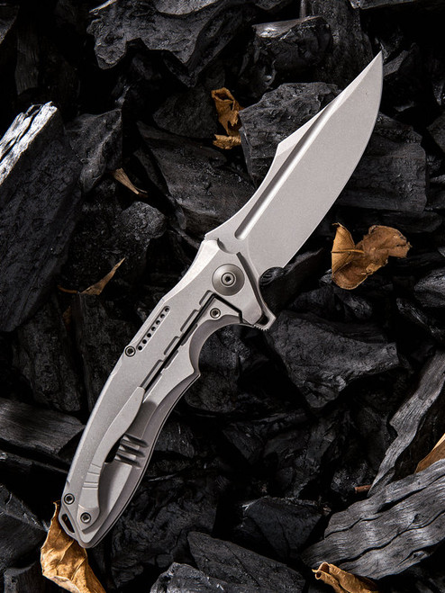 "We Knife Chimera Framelock Folder 814B, 3.9"" CPM S35VN Bead Blast Clip Point Plain Blade, Gray Titanium Handle"