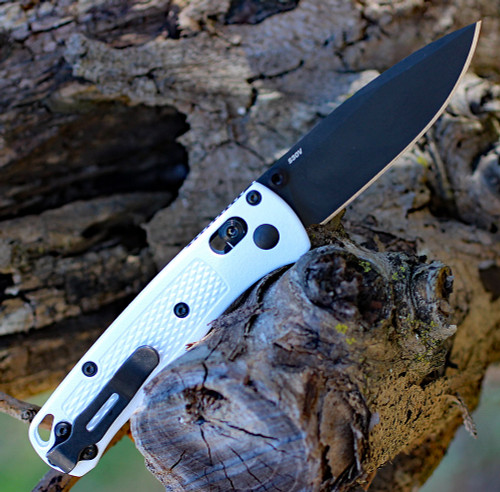 "Benchmade 533BK-1 Mini Bugout, 2.82"" CPM-S30V Black Plain Blade, White Grivory Handle"