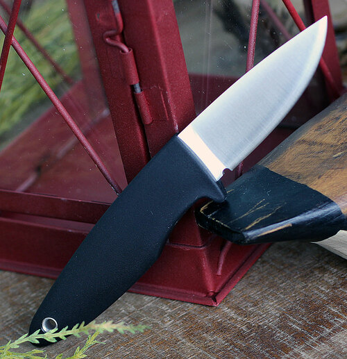 "Fallkniven WM1 Fixed Blade Sporting Knife WM1LCOS, 2.75"" Lam. CoS  Satin Drop Point Plain Blade,Black Thermorun Rubber Handle, Leather Sheath"