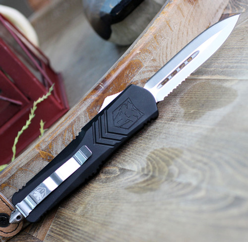 "CobraTec Black FS-X OTF Knife CTKLBLKFS-XLDAG1SS, 3.75"" D2 Steel Dagger Serrated Blade, Black Aluminum Handle"