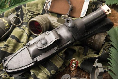 """Bark River MacV SOG Fixed Blade, 6"""" CPM-3V Carbon Steel Clip Point Blade, Black Canvas Micarta Handle, Black Leather Belt Sheath"""