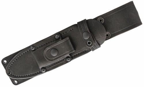 "Bark River MacV SOG 10125MSL Fixed Blade, 6"" CPM-3V Carbon Steel Clip Point Blade, Brown Stacked Leather Handle, Black Leather Belt Sheath"