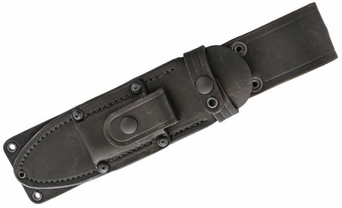 "Bark River MacV SOG 10125BSL Fixed Blade, 6"" CPM-3V Carbon Steel Clip Point Blade, Black Stacked Leather Handle, Black Leather Belt Sheath"