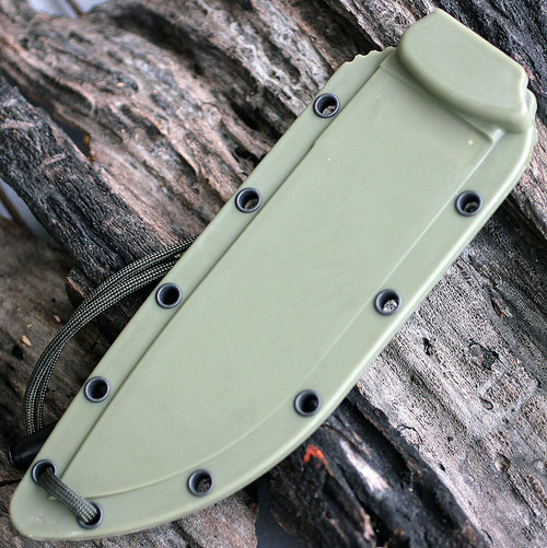 ESEE Model 6 Combo Edge, Rounded Pommel, Green Sheath w/ Clip Plate No Box