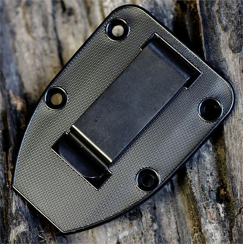 ESEE 4S-DT, Desert Tan Blade, Black Kydex Sheath with Clip Plate, Combo Edge-No Box