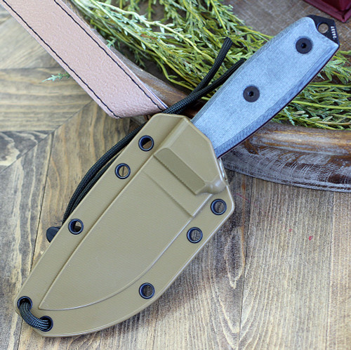 ESEE 3P-CP-MB, Plain Edge w/ Sharpened Back Edge, Coyote Brown Molded Sheath with Molle Back No Box